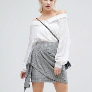 J.O.A. Plaid Ruffle Mini Skirt in Vintage Check